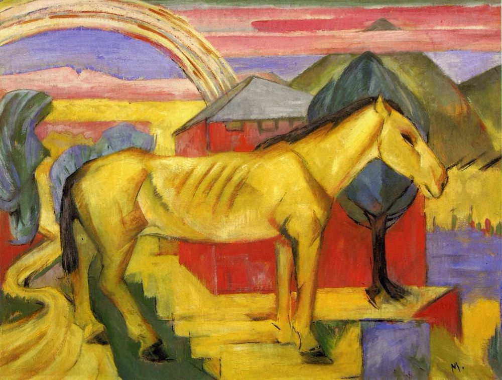 Long Yellow Horse by Franz Marc oil painting canvas High quality hand painted abstract modern art for wall decorLong Yellow Horse by Franz Marc oil painting canvas High quality hand painted abstract modern art for wall decor