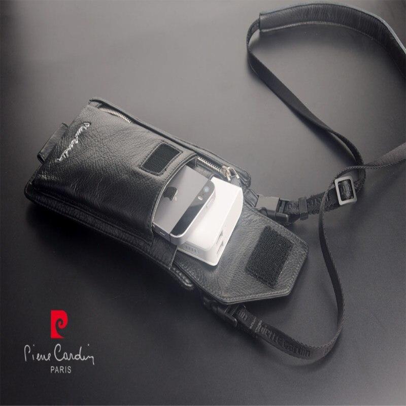 Pierre Cardin Male Casual Shoulder Bag Man Bag Genuine Leather Bag Strap 8 7 5 4
