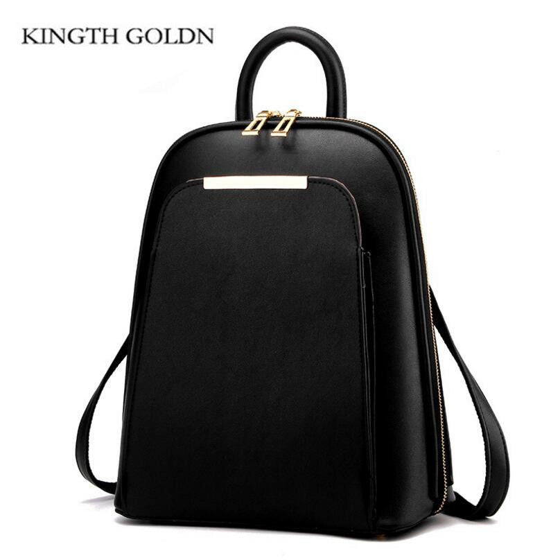 Kingth Goldn High Quality Pu Leather Women Backpack Teenage Girls School Shoulder Bag Bagpack Mochila Female Backpacks