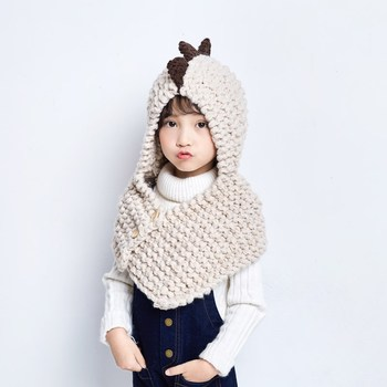 MIARA.L Children hooded collar knitting scarf warm boy girl baby dinosaurs hat suit for winter and autumn
