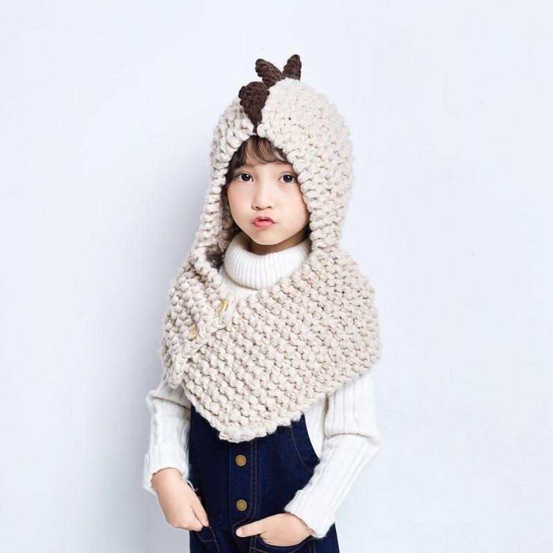 8c4e9b6d9 L niños con capucha collar tejido bufanda caliente niño niña bebé  dinosaurios sombrero traje para invierno y otoño