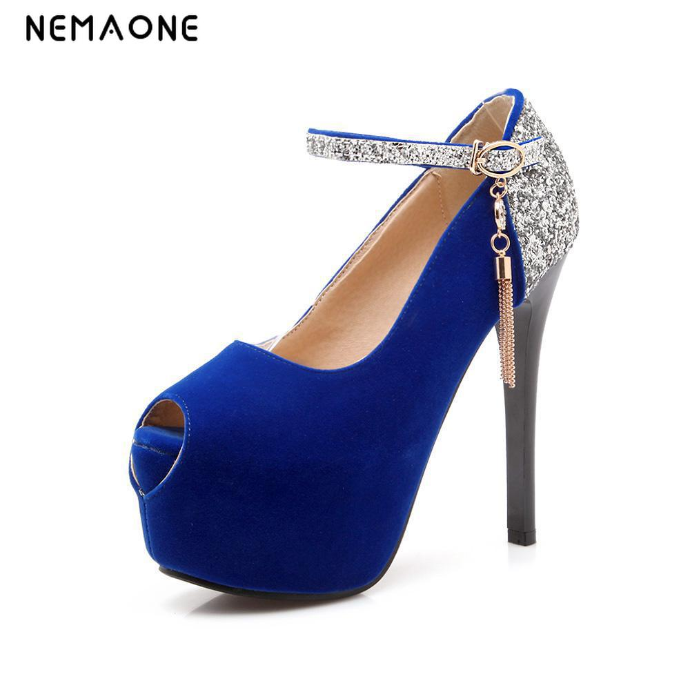 NEMAONE Women shoes 2017 summer black blue red platform pumps high heels shoes woman fashion wedding party shoes dance peep toe texu high heeled shoes woman pumps wedding shoes platform fashion women shoes red bottom high heels