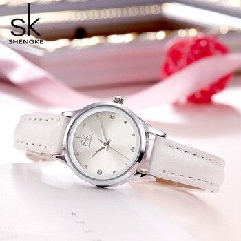 Shengke moda skórzane zegarki kobiety mały okrągły Dial dla kobiet zegarek kwarcowy Montre Femme 2019 Top marka luksusowe zegarki damskie