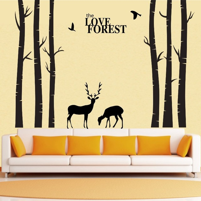 Incroyable Vinyl Tree Wall Decals Giant Tree Love Forest Deer Bird Wall Stickers Decals  Home Decor Art