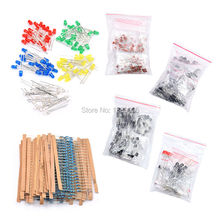 Pakiet komponentów elektronicznych + zmienne kondensatory elektrolityczne + kondensatory ceramiczne + rezystancja + tranzystor diody LED