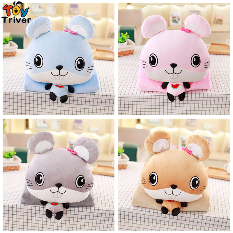 100X170cm Plush Mouse Portable Blanket Stuffed <font><b>Toy</b></font> Doll Hands Warmer Baby Shower Car Travel Rug Office Nap Carpet Birthday Gift
