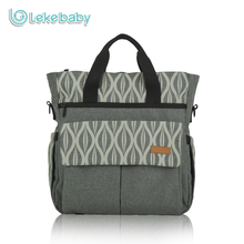 Lekebaby Fashion Mom Maternity Diaper Messenger Bag Organizer Oversize Opening Printed Changing Nappy Tote Bag for Baby Stroller