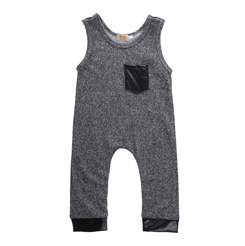 New Summer Toddler Kids Baby Girl Boy Cotton Dark Gray Sleeveless Romper Jumpsuit Outfits Brand Costume Fashion Boys 1-6Y 2017 summer toddler kids girls striped baby romper off shoulder flare sleeve cotton clothes jumpsuit outfits sunsuit 0 4t