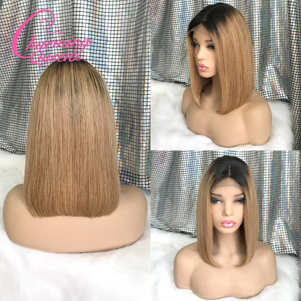 150% 4*4 Silk Top Closure Wig Lace Closure Human Hair Wigs For Women Straight Ombre BOB Wig Remy Brazilian Hair Pre Plucked