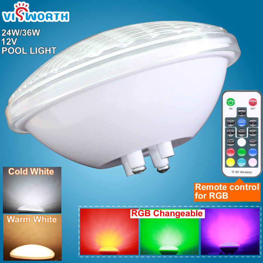 AC / DC 12V ~ 24V Fountain Pond SMD5730 90PCS 24W 36W LED Pool Pool Light IP68 Vattentät Spotlight utomhus Vit Varm Vit RGB