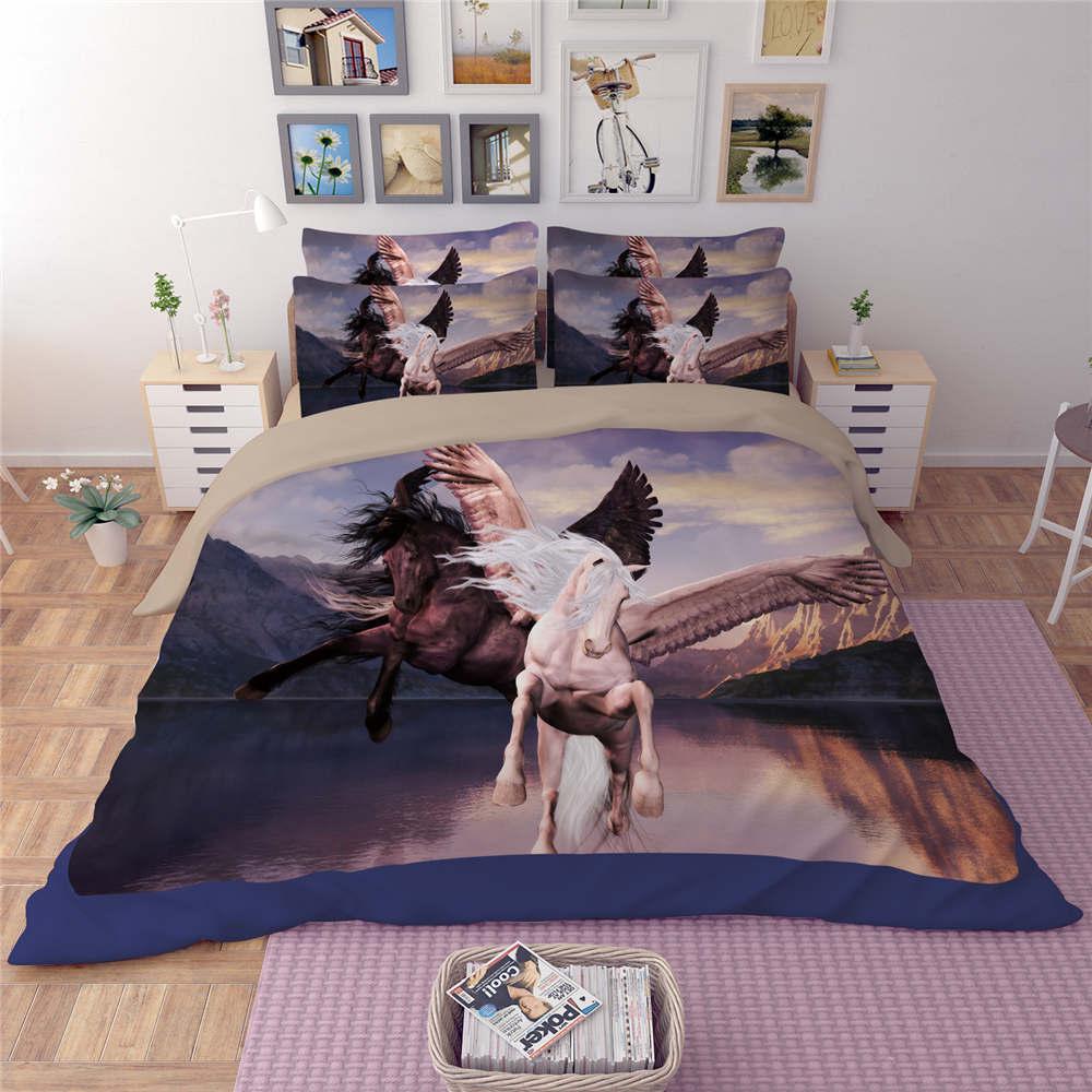 Hot Unicorn Horses Animals 3D Printing Bedding Sets Quilt ...