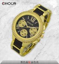 Fashion Crystal 2015 GENEVA Watch Kvinnors Silikon Tvåfärgade Akryl Armband Smycken Klockor