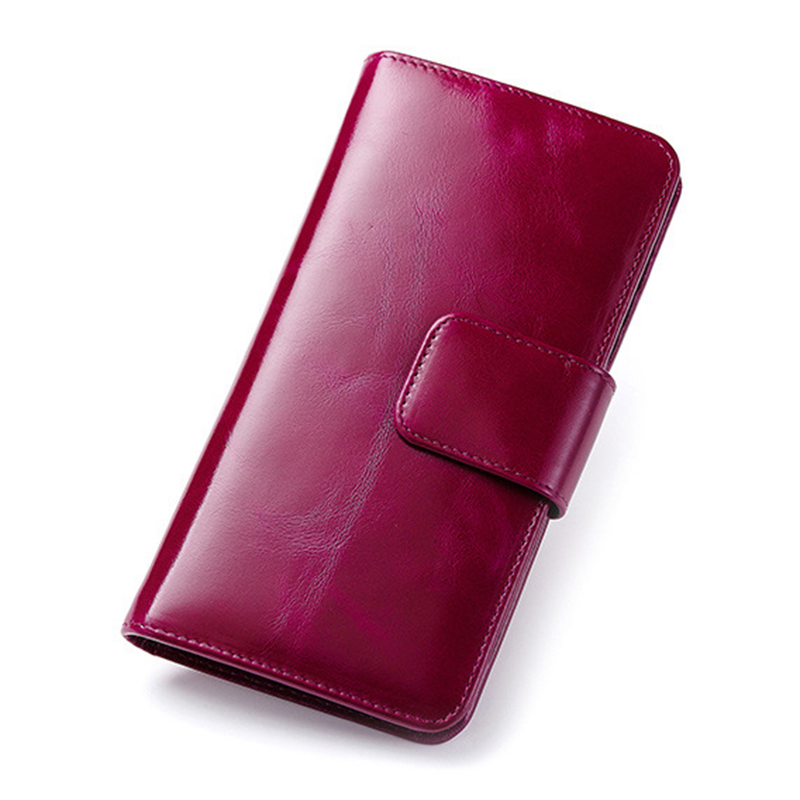 Brand New Red Women Wallets Genuine Leather High Quality Long Design Real Cowhide Coin Money Bag Card Holder Cell Phone Purse  new real genuine leather women wallets brand design high quality cell phone card holder cowhide long lady wallet purse clutch