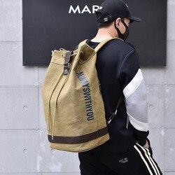 Homens Mochila de lona Grande Capacidade de Laptop Mochila Homens Sacos de Viagem Balde Mochila Bookbag Bagpack Esporte Grandes Cubos de Embalagem
