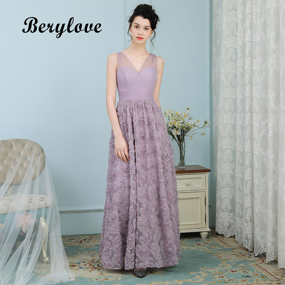 BeryLove Lavender Flowers Evening Dresses Long V Neck Lace Prom ...
