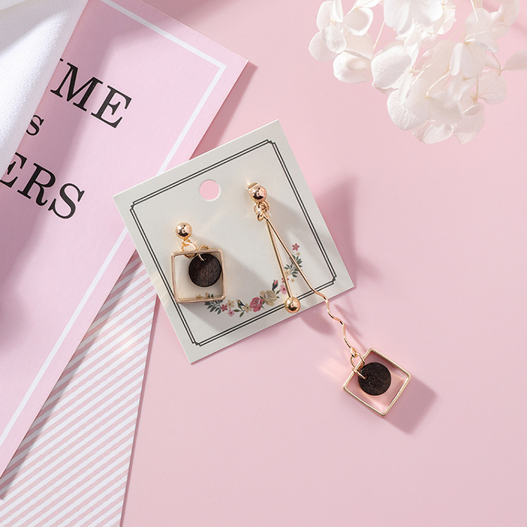 18 Asymmetry AB Style Wave Chain Geometric Earrings Alloy Square Wooden Wafer Pendientes Mujer Vintage Drop Earrings 4
