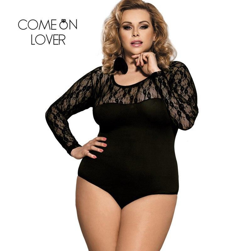 buy popular 14d14 1df49 US $9.99 18% di SCONTO Comeondear Sexy Corpo vestito di Pizzo Nero Più Il  Formato Maniche Lunghe Body Trasparente Delle Donne Pagliaccetti Bodycon ...