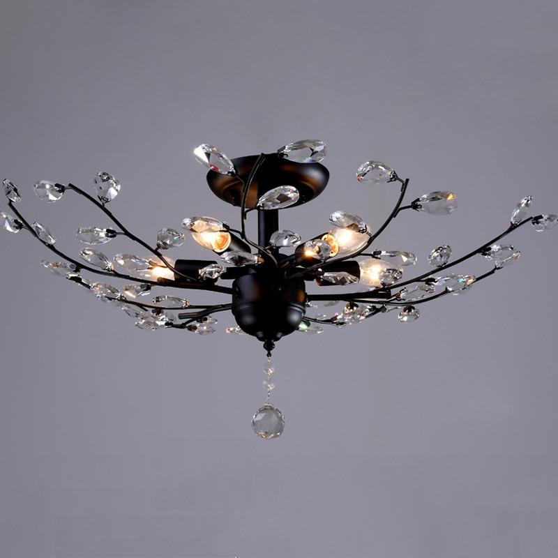 خمر واضح كريستال معلقة ضوء 5 أضواء E14 المعادن مصباح السقف تركيبات الإضاءة لغرفة المعيشة غرفة نوم دراسة مصابيح CL199-في أضواء السقف من مصابيح وإضاءات على cheerhuzz interiorlight Store
