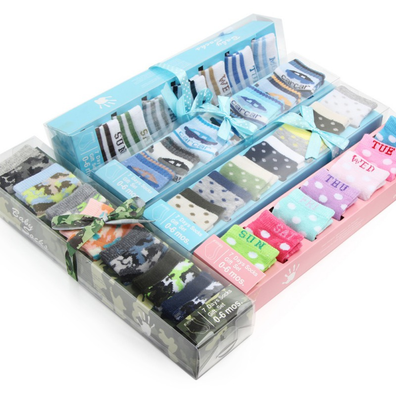 Baby Boys Girls Boxed Socks  Unisex Baby Infant Newborn SocksIn Gift Box Set Kids Baby Low Cut Cotton Socks 7 Pairs