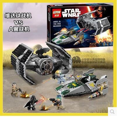 New LEPIN 05030 Star Series 722Pcs Vader Set Tie Advanced VS A toys wing Star fighter Building Blocks Toy 75150 boy 2017 new 1242pcs 05055 lepin star wars vader s tie advanced fighter model building kit figures blocks brick toy compatible 10175