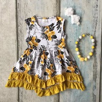 Baby Girls Summer Dress Girls Kids Wear Style Mustard Yellow Flower Dress Baby Children Boutique Floral