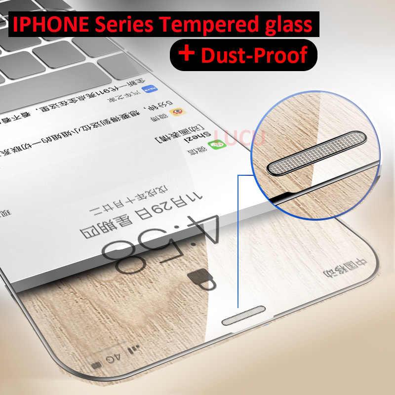 9 H מלא כיסוי מזג זכוכית עבור iphone X XS MAX XR מסך מגן iphone 6 6 S 7 8 בתוספת Dustproof מתכת mesh מגן סרט