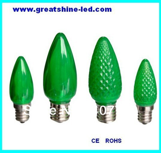 free shipping smd 5050 c9 led christmas bulbs ac120v e17 base green color used for holiday party and christmas lighting in holiday lighting from lights