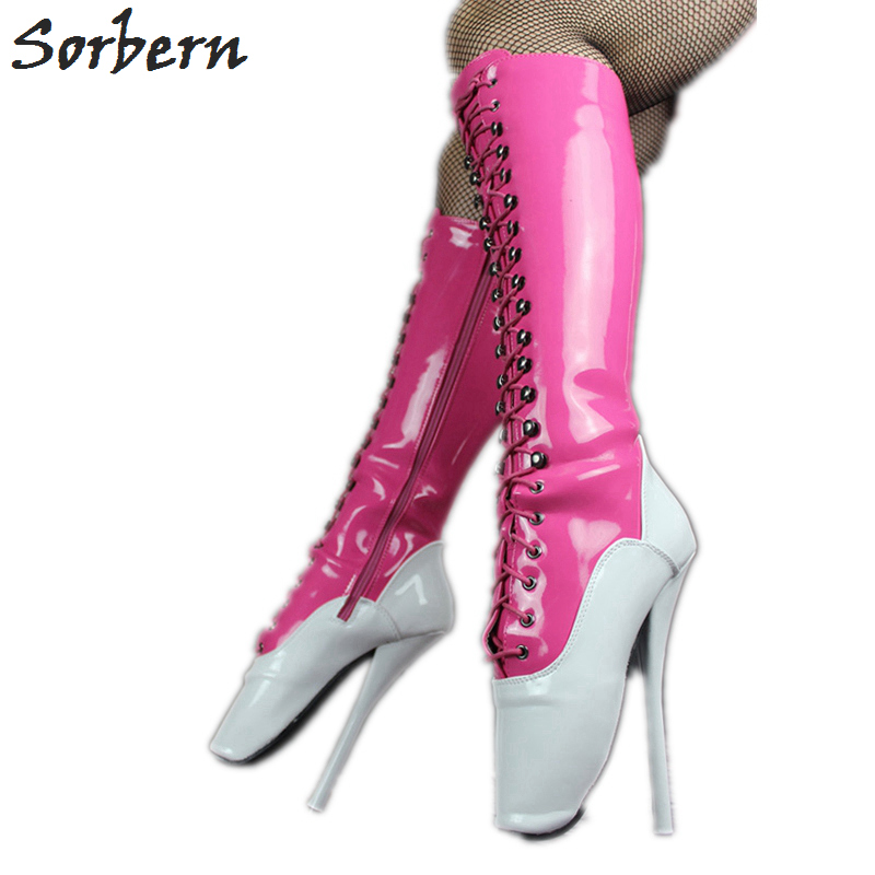 Custom Chaussons Unisexe Femmes Bottes Talons Pointe Personnalisé Blanc Pieds Color Sorbern Chaussures Veau Fetish Rose Dominatrix Large Genou rose Des Haute Ballet xW8AnH7qn