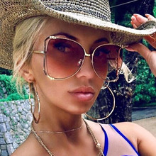 Oversized D Square Sunglasses Women 2018 Luxury Brand Cat Eye Clear shades glass