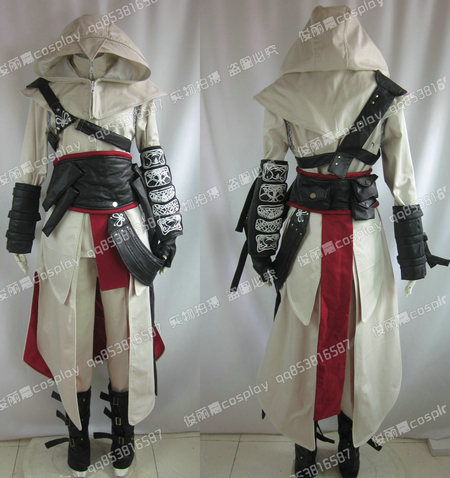 Hot Anime High Quality Custom Made Assassins Creed 2 II White Cosplay Costume Ezio Uniform Suit Any Size Free Shipping NEW