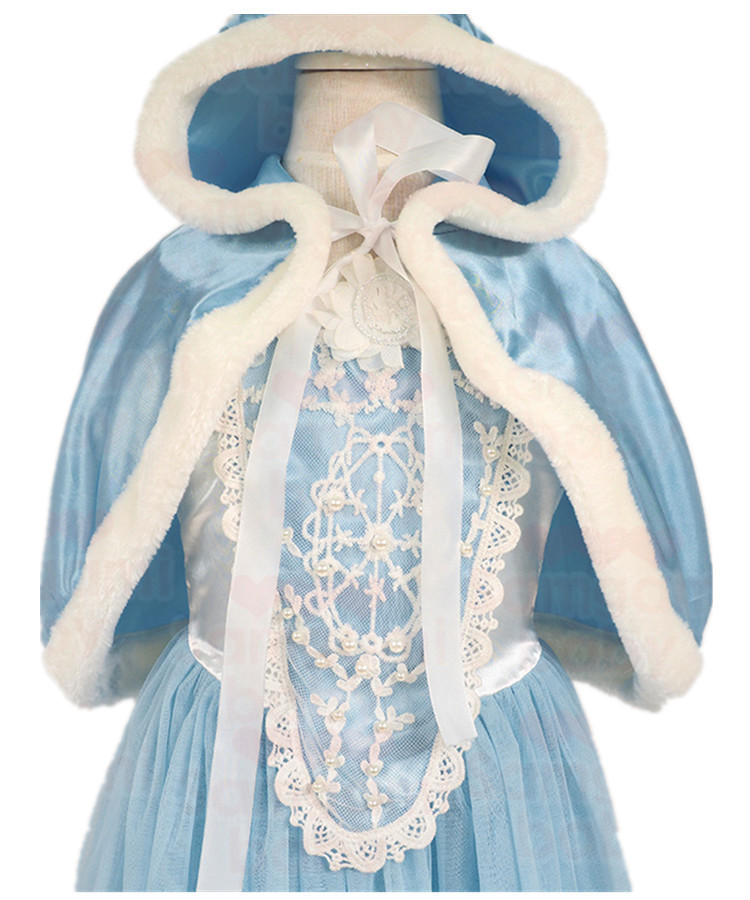 2017 New Girl Ice Snow Queen Dress Children Anna Elsa Hooded Dress Toddler Princess Party Clothes Kids Cosplay Costume,
