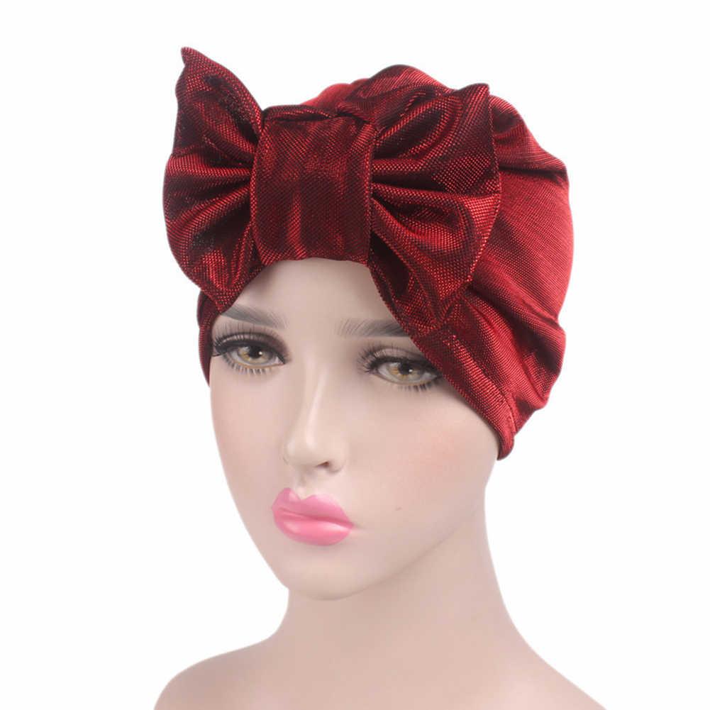 63af10db178 2019 Fashion Women Bow Turban Metallic Bonnet Chemo Cap Bowknot Cap Hair  Loss Head Wrap