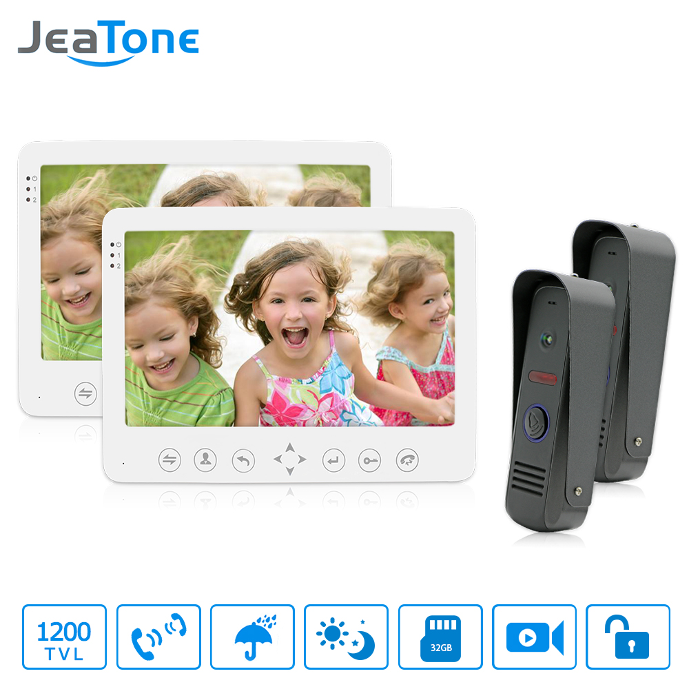 JeaTone Video Door Phone Intercom camera video doorbell IR Night Vision Outdoor Camera Dual-way Intercom Monitor System jeatone 10 hd wired video doorphone intercom kit 3 silver monitor doorbell with 2 ir night vision 2 8mm lens outdoor cameras