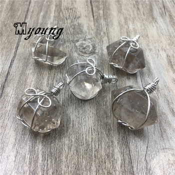 Smoky Quartzs Druzy Double Terminated Pendant Charms, Wire Wrapped Brown Crystal Quartz Pendant Point Findings, MY1701