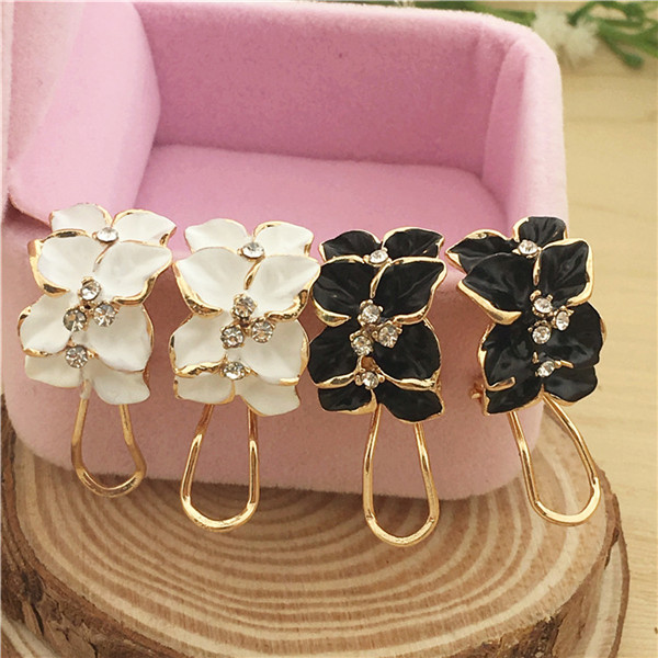 Fashion Romantic Cute Crystal Camellia Flower Drip Stud Earrings Jewelry For Women Christmas Gifts Brincos E674