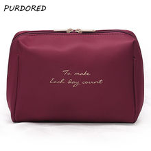 PURDORED 1 pc Solid Color Cosmetic Bag Women Beauty Case Make Up Organizer Travel Bag Kits Portable Toiletry Bag Dropshipping(China)