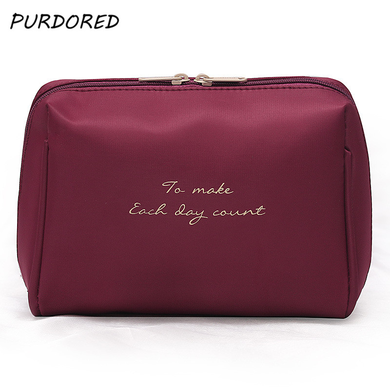 PURDORED 1 pc Solid Color Cosmetic Bag