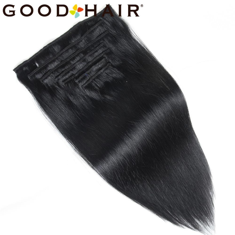 GOED HAAR Machine Gemaakt Remy Clip In Human Hair Extensions - Mensenhaar (voor wit)