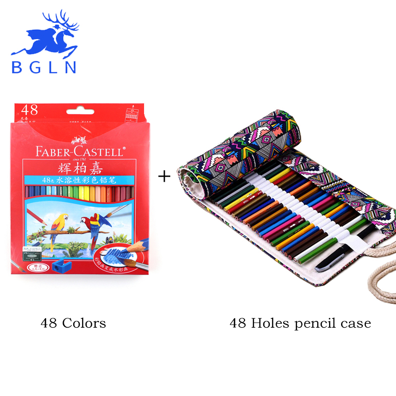 Faber Castell 36/48Colors Non-toxic Colored Pencil +National Embroidery Pencil Bag lapis de cor School Pencils Art Supplies faber castell 48 60 colors watercolor colored pencils lapis water soluble color pencil school art supplies lapices de colores