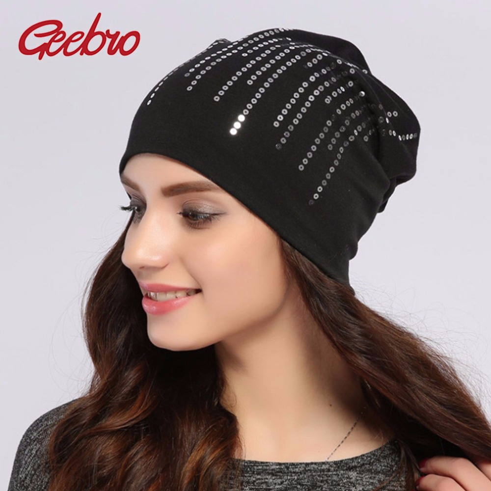 Geebro Women's Round Silver Sequins Beanie Hat Spring Black Cotton Slouchy Hats Beanie For Women Skullies Balaclava Bonnet Sapka