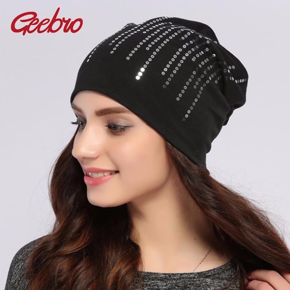 Geebro Women's Round Silver Sequins Beanie Hat Spring Black Cotton Slouchy Hats Beanie For Women Skullies Balaclava Bonnet Sapka
