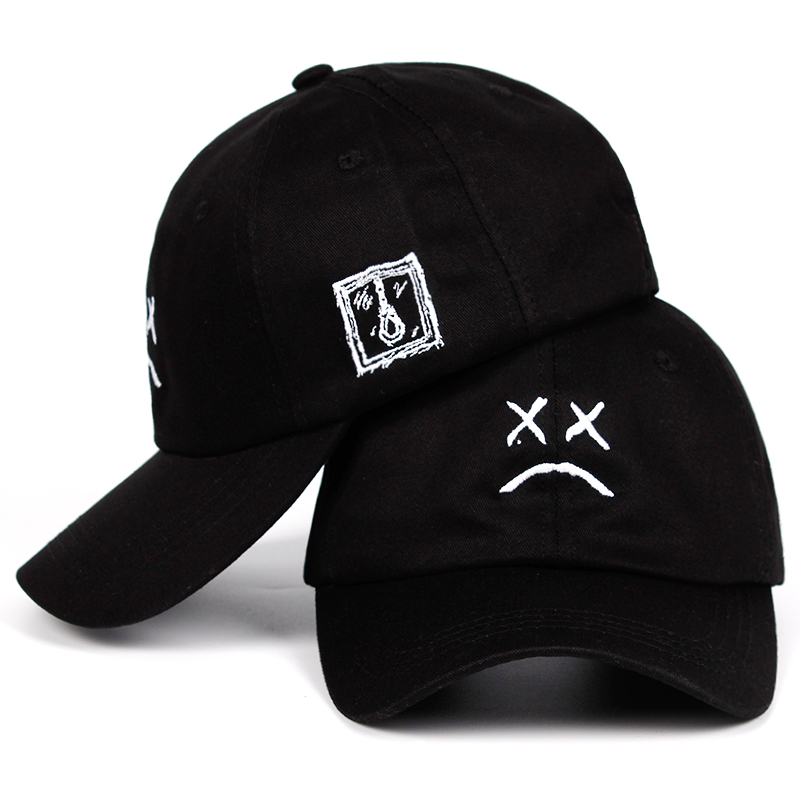 Lil Peep Sad face Dad Hat Embroidery 100% Cotton   Baseball     Cap   Hat xxxtentacion Hip Hop   Cap   Golf Love lil.peep Snapback Women Men