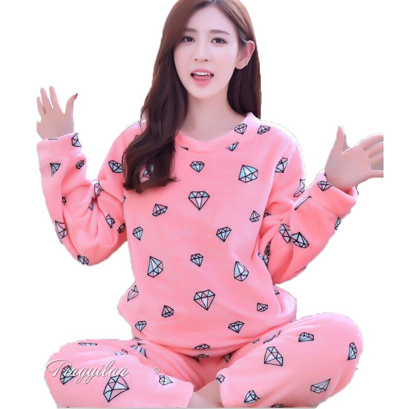 Flannel pyjamas women winter pajamas for women long sleeve for Women s flannel sleep shirt