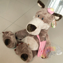 cute plush pink flower girl wolf toy stuffed pink school bag wolf doll gift about 35cm