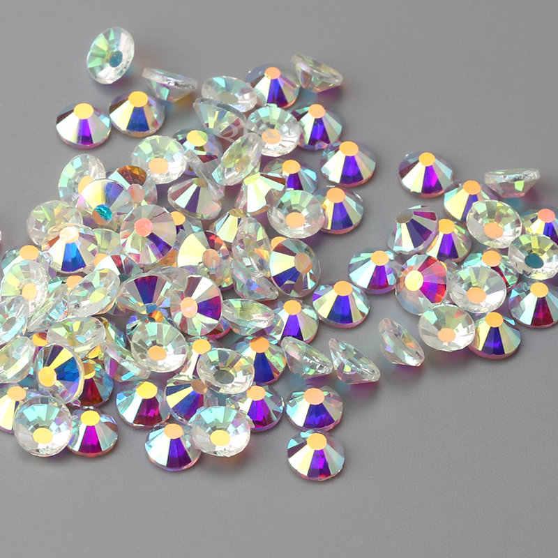 Tamaños de mezcla 1440 piezas 288 piezas cristal transparente AB SS3-SS30 espalda plana no Hotfix Diamante de imitación gema de cristal para uñas 3D arte Decoración