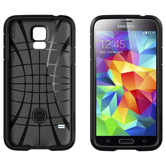 the latest ab440 b8d38 US $22.99 |For Samsung Galaxy S5 100% Original Spigen SGP Tough Armor Case,  EXTREME Protection Air Cushioned & Spider Web Pattern TPU Case on ...