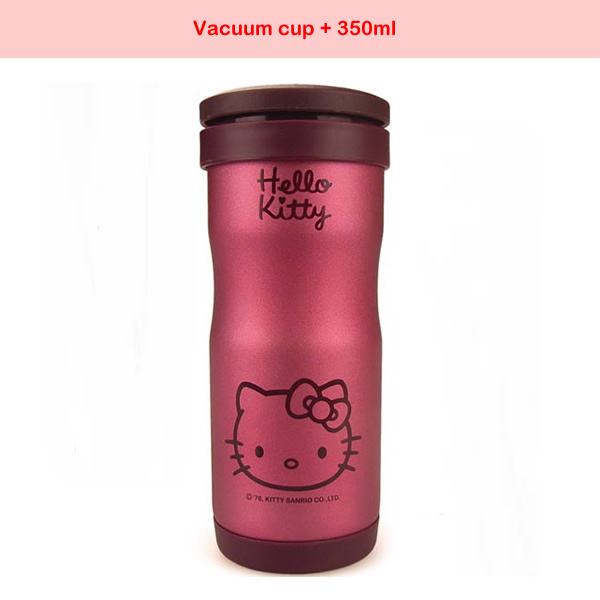 free shipping Hello Kitty thermos cartoon water bottle lifter tea cup stainless steel vacuum cup Thermoses flask 350ml