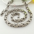 """Free Shipping, 25"""" long, 8mm wide, Silver Men's Stainless Steel Polish Byzantine Chain Necklace Jewelry Fashion, Wholesale WN004"""