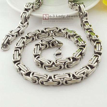 """Gokadima 25 """"de largo, 8 mm de ancho, collar de cadena bizantina de acero inoxidable pulido para hombre, joyería, venta al por mayor WN004"""