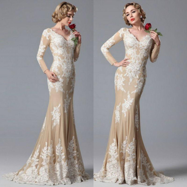 030bc9ae09b Hot Vintage Mermaid Prom Dress appliques Long sleeves Modern fashion V-neck  evening dress Formal Party Evening Gowns